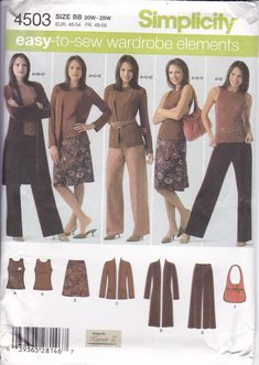 Simplicity 4503 New Sewing Pattern  Duster Coat Wardrobe Matching purse Top Pants Skirt Misses Plus Size 20W-22W, 24W, 26W, 28W plus size by LanetzLiving on Etsy