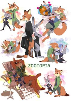 Zootopia Nick and Judy Oh and Finnick too Film Disney, Arte Disney, Disney Fan Art, Zootopia Anime, Zootopia Comic, Disney And Dreamworks, Disney Pixar, Sapo Meme, Nick Wilde