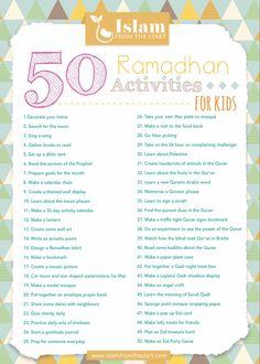 50 Ramadhan activity ideas to inspire a month filled with fun, learning and remembrance of Allah! Complete details for each activity on. Ramadan Day, Islam Ramadan, Ramadan Gifts, Ramadan Mubarak, Ramadan For Kids, Hajj Mubarak, Ramadhan Quotes, Poster Ramadhan, Ramadan Poster