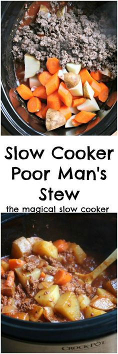 Slow Cooker Poor Man's Stew. A delicious budget meal for your crock pot!