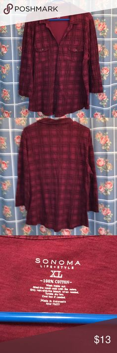 Sonoma Life Style XL 100% cotton long sleeve top Sonoma XL button up long sleeves top XL stretch 23 inches armpit to armpit 28 inches from shoulder to hem maroon plaid Sonoma Tops Button Down Shirts