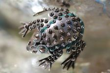 VINTAGE 925 STERLING SILVER MEXICAN CANNETILLE FILIGREE FROG TOAD PIN BROOCH