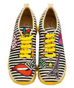 1c2539ffed2f Goby Black   White Stripe Paris Grooved-Sole Sneaker