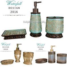 Retro koupelnové doplňky, tyrkys, zlaté, bronz / Bathroom accessories, turquoise, gold, antique bronze