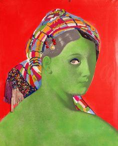 Martial Raysse – La grande odalisque, 1964. Peinture acrylique, verre, mouche, passementerie en fibre synthétique, sur photographie marouflée sur toile; 130x97 cm | Centre Pompidou