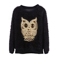 Black Sequined Embroidered Owl Fleece Pullover Sweatshirt (205 CNY) found on Polyvore  graphic sweatshirts 图案针织TEE 20121210
