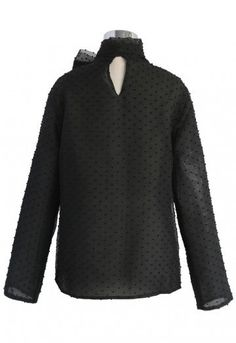 Sweeten up your collection of soft tops this season with this black organza top. Its bowknot detail adds a little drama to the otherwise simplistic look.  - Detachable self-tie bowknot on neckline - Texture organza finished - Flock dots all over - Keyhole cutout with button to reverse - Not lined - 100% Polyester - Hand wash   Size(cm) Length  Bust Shoulder Sleeves S/M      60    96    40     57 L/XL      61    100    42    58 Size(inch) Lengt...