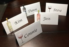 Wine Place Cards - Wedding Decor Ideas    wine Wedding Place Cards - wine Escort Cards - wine Seat Cards - wine Food Labels - wine Tent Fold - wine Dessert Table Labels - Dinner Party Place Cards - wine Name Tag    wine engagement theme bridal shower rehearsal dinner shabby chic retirement party Wine Favor Tags, Merlot Pinot Grigio Rose Name Cards Gift Tags Seating Assignments Placecards Wedding Party Favor Tags Food Labels