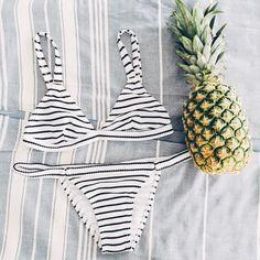 Striped bikini   Pineapple   Summer   Beach   More on Fashionchick.nl
