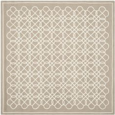 Safavieh Chelsea Collection HK739A Hand-hooked Chelsea Tan and Ivory Wool Square Area Rug, 8-Feet
