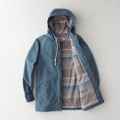 yarn dye sherpa lined raincoat