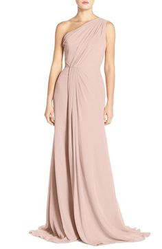 ladies this is my favorite!!! Monique Lhuillier Bridesmaids One Shoulder Chiffon available at #Nordstrom in mink or rose