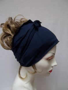 Hair Wrap Yoga Workout Wrap Navy Blue Bamboo Jersey Stretchy Ballerina Head  Wrap Crazy Curly Hair 290cea7c1445
