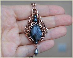 Black agate stone pendant necklace wire wrapped por WireColibri