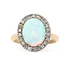 Late Art Deco Opal Ring with Diamond Halo | Hunter's Point from Trumpet & Horn