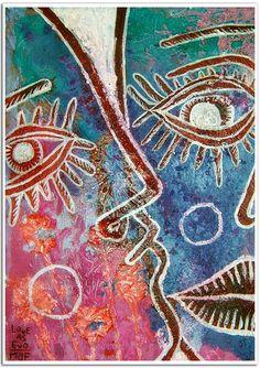 EL BESO - 30x40cm.acrylic+pen on canvas.didaccheca.may09--- 1500€