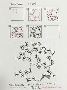 Online instructions for drawing CZT® Mina Hsiao's Zentangle® pattern: 4Fun.