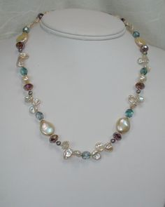 WATERS Cream Pearls and Blue and Purple by JanetMarieJewelry, $90.00