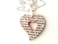 Pride and Prejudice Jane Austen Necklace Wood Paper by BuyMyBaby, $19.99