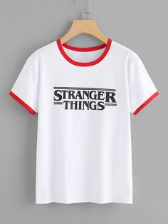 SheIn offers Letter Print Ringer Tee & more Womens bottoms Dress Global Letter offers Online Print Ringer SheIn Shop Tee women bottom grill Teen Fashion Outfits, Trendy Outfits, Cute Outfits, Fashion 2017, Dress Fashion, Fashion Art, Fashion Women, Lange T-shirts, Stranger Things Netflix