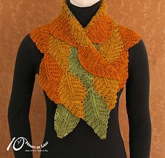 Set your stash free with a quick and colorful crocheted scarf! Worked with one color at-a-time, this striking piece features beautiful bands of beech leaves cleverly stitched together as you work. So there's no sewing! And with our step-by-step instructions for making any size in any weight of yarn, you can choose the perfect color/fiber combo for your favorite fashion season.