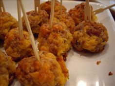 These are so delicious, I have even made this with pork breakfast sausage meat, do not precook the sausage meat for this as the meat will cook when baked --- make a double batch of these and freeze them, they won't last long! You can also add in a couple teaspoons minced yellow onions or a green onion very finely chopped if desired --- *note* this recipe was developed using original Bisquick baking mix, I cannot promise the same results using a clone mix for this.