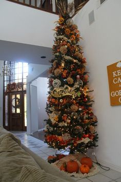 Start a tradition! Get your Christmas tree out early and decorate for Thanksgiving too! Sit around the tree and share what you are thankful for. Fall Christmas Tree, Thanksgiving Tree, Holiday Tree, Thanksgiving Decorations, Christmas Crafts, Xmas, Harvest Decorations, Seasonal Decor, Holiday Decor