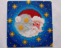 hama perler beads - Julemånen - Christmas moon by: Nina V. Kristensen Hama Beads Design, Hama Beads Patterns, Beading Patterns, Santa Christmas, Christmas Cross, Christmas Perler Beads, Beaded Banners, Xmas Cross Stitch, Beaded Ornaments