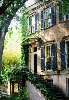 Beautiful homes of Savannah, Georgia.i love the style of architecture! Exterior Design, Interior And Exterior, Exterior Stairs, Building Exterior, Building Homes, Green Building, Future House, My House, Beautiful Homes