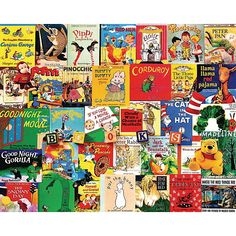 Storytime Puzzle: this collage of classic bedtime stories like Goodnight Moon and Corduroy is sure to bring back warm memories for the entire family. Artist: Charlie Girard. 1000 thick pieces.