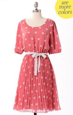 Spotty Dotty Dress--Spiced Coral  I would like to have this on my person.