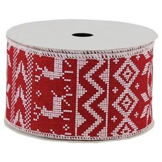 Premium Holiday Ribbon Red Fair Isle 21ft