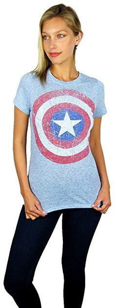 841712cfa Marvel Womens Captain America Distressed Shield Logo Hi-Lo Tee Light Blue  (Light Blue, Medium)