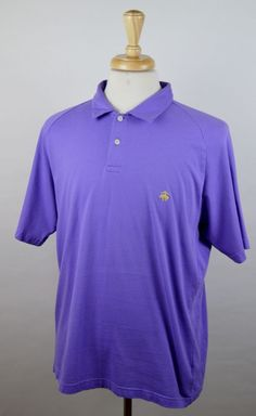 Brooks Brothers 346 Men's Size XL Purple Short Sleeve Cotton Rugby Polo Shirt #BrooksBrothers346 #PoloRugby