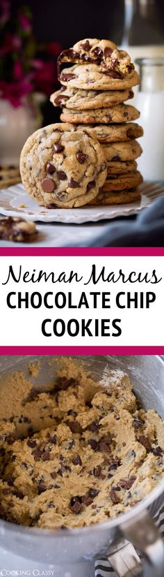 Neuman Marcus Chocolate Chip Cookies - a family fav!! Love the addition of ground oats. #cookies #chocolatechipcookies