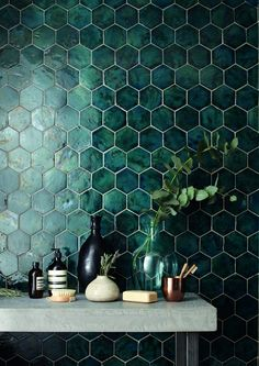 domus tile uk / terracotta range / #painting #decorating #inspiration #tiles #tiling #decor #peacock #green #blue #hexagon #different #diyhomedecor