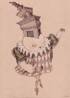 Giulia Ferla - Setola - China e Matite colorate su Carta