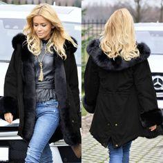 Fur Collar Cotton-Padded Long Hoodie Coat