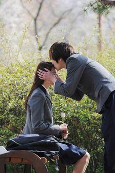 sweet kissing  school teen couple