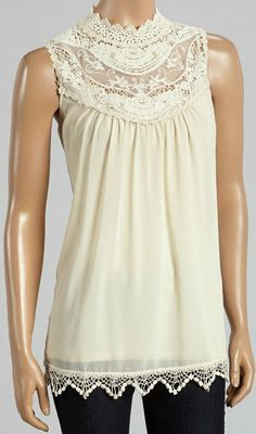 Natural Sheer Lace Sleeveless Top..like but would love as a dress