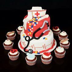Celebration for Nurse's Week Nurse Cupcakes, Fondant Cupcakes, Nursing Graduation Cakes, Nurses Week, Celebration, Desserts, Food, Tailgate Desserts, Dessert