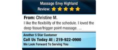 I like the flexibility of the schedule. I loved the deep tissue/trigger point massage.