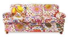 Soffa 703 - Josef Frank sofa with Brazil fabric from Stockholm store Svenskt Tenn – Stockholm Oriental Furniture, Funky Furniture, Colorful Furniture, Furniture Design, Colorful Couch, Furniture Ideas, Josef Frank, Sofa Design, Funky Sofa