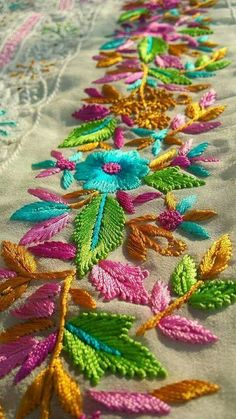 Love the vibrant colors. Bordados sobre tul o paños Zardozi Embroidery, Kurti Embroidery Design, Border Embroidery, Hand Embroidery Flowers, Hand Work Embroidery, Flower Embroidery Designs, Shirt Embroidery, Hand Embroidery Stitches, Embroidery Fashion