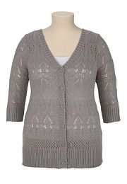 3/4 Sleeve Pointelle Stitch Button Front Cardigan - maurices.com