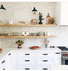 667 Likes, 15 Comments - cle tile ( zellige in weathered white -for the range wall New Kitchen, Kitchen Dining, Kitchen Decor, Kitchen Ideas, Stylish Kitchen, Kitchen Island, Kitchen Shelves, Kitchen Backsplash, Paint Backsplash