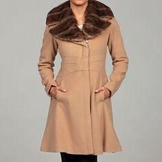 jessica simpson camel faux fur coat. so cute!