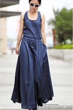 2014 Women's ultra long Linen dress Maxi dress Women Casual summer Party dress