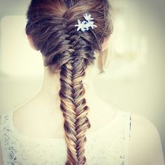 fishtail braid with flowers