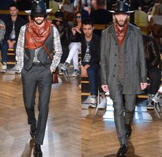 N.HOOLYWOOD 2014 Spring Summer Mens Runway Collection - New York Fashion Week - Vintage Cowboy Western Plaid Bomber Jackets Vests Multi-Panel: Designer Denim Jeans Fashion: Season Collections, Runways, Lookbooks and Linesheets